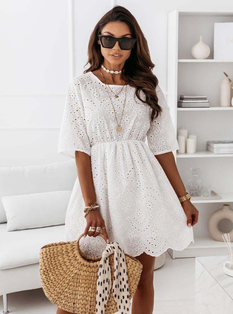 Biała ażurkowa sukienka Ewodia