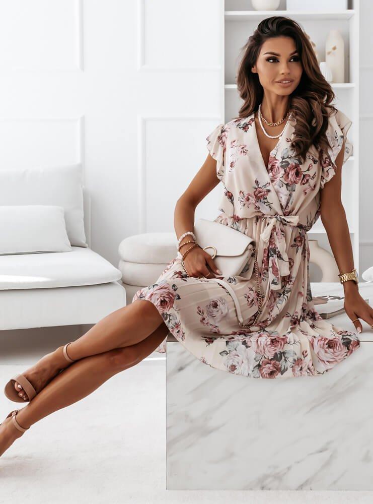 Beżowa kwiecista sukienka z paskiem Hasana