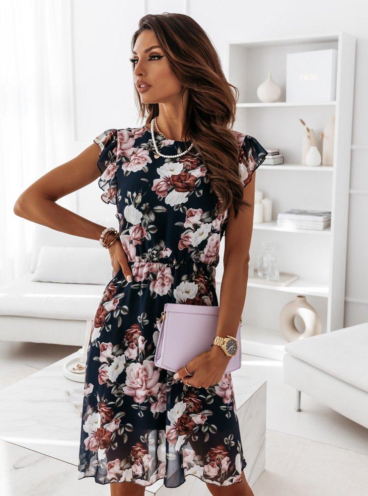 Granatowa sukienka w kwiaty Hanni