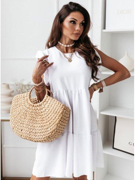 Biała zwiewna sukienka...