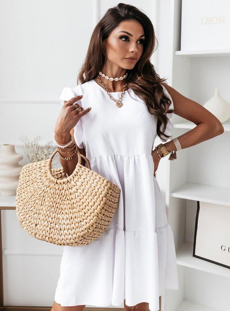 Biała zwiewna sukienka oversize Maeva