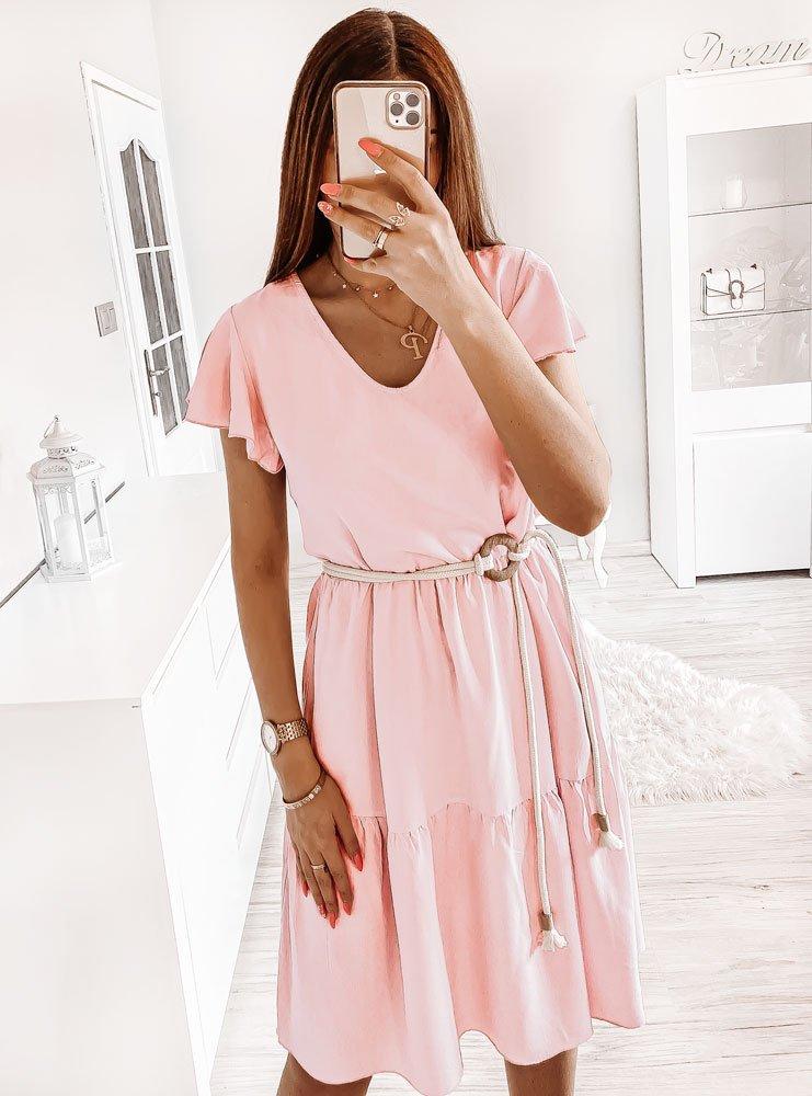 Pudrowa sukienka oversize Odelina