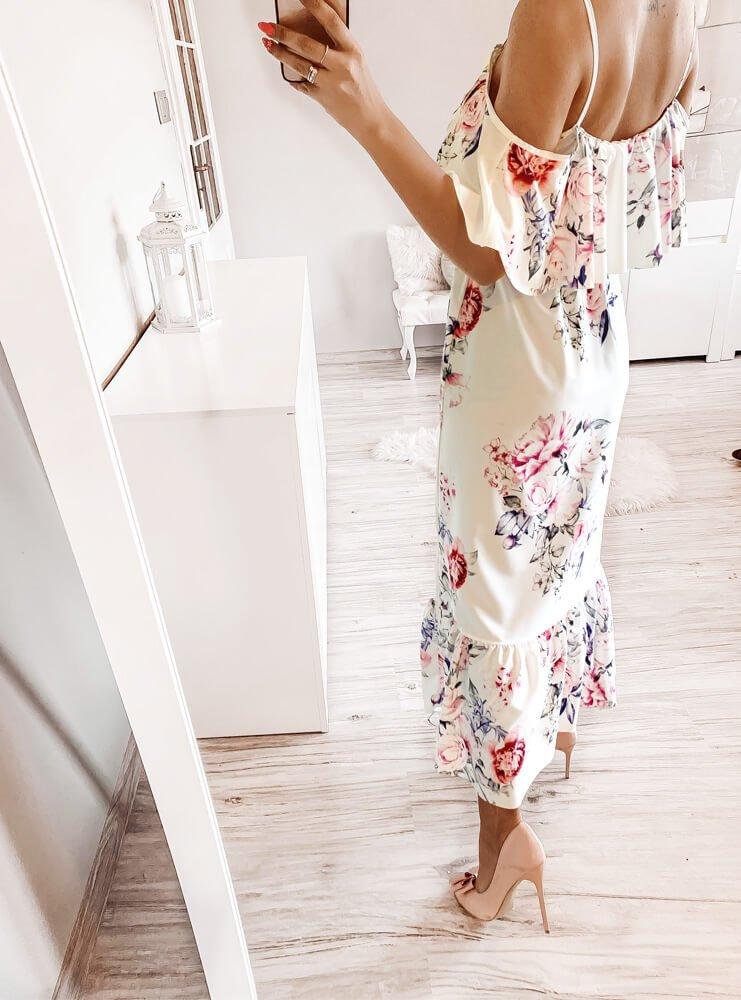 Wzorzysta sukienka z falbanką Emaa -...