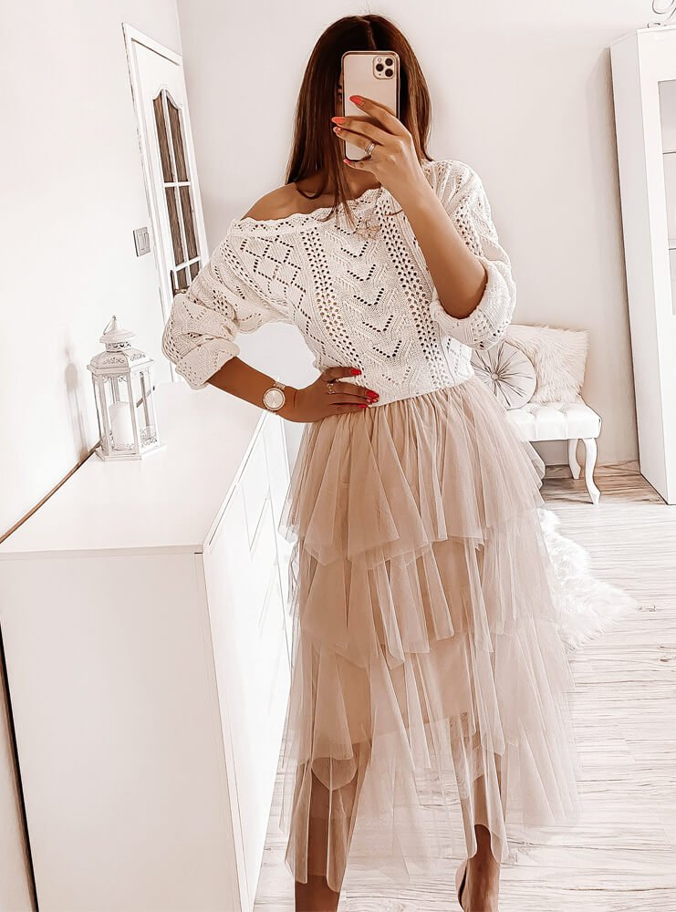 Beżowa spódnica tiulowa Flawia
