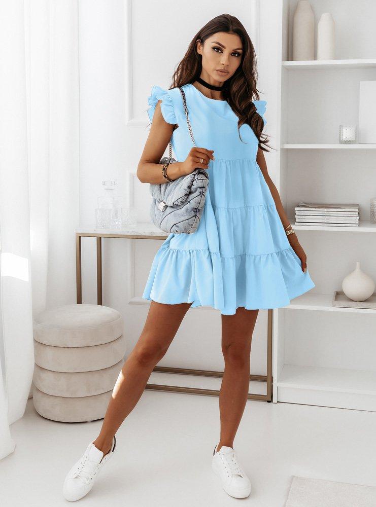 Błękitna sukienka z falbankami przy rękawie Elissa