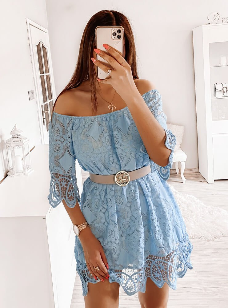 Błękitna koronkowa sukienka hiszpanka Janyssa