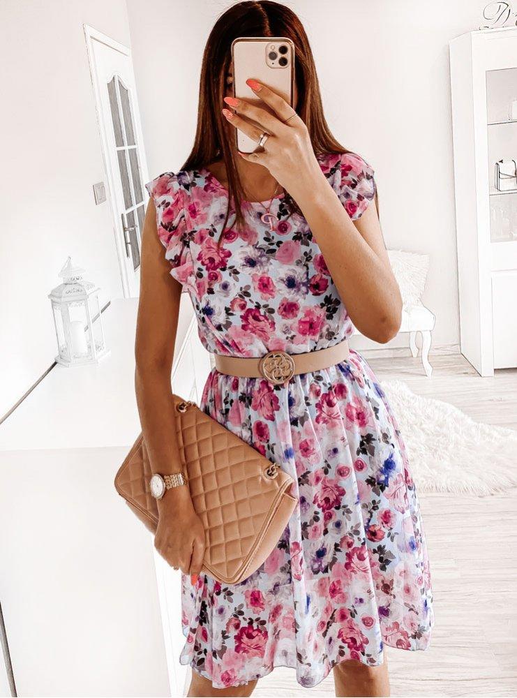 Błękitna sukienka w kwiaty Klaudyna -...