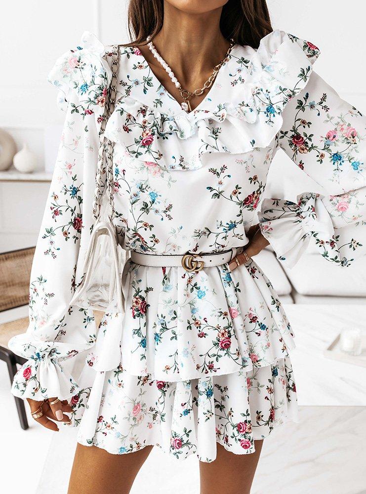 Wzorzysta sukienka z falbankami Binko...