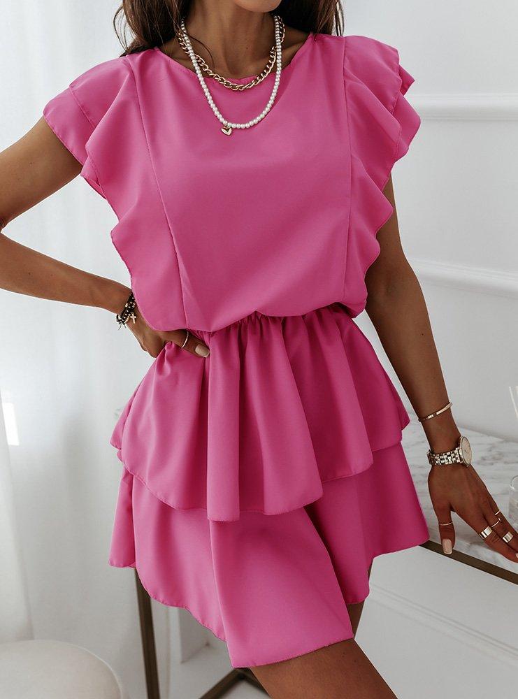 Sukienka z falbankami Solrunn - fuksja