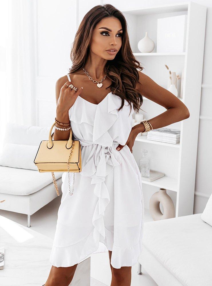 Biała sukienka z falbanką Emori