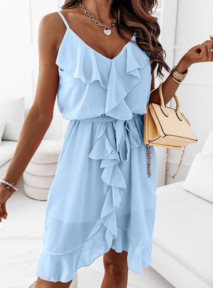 Błękitna sukienka z falbanką Emori