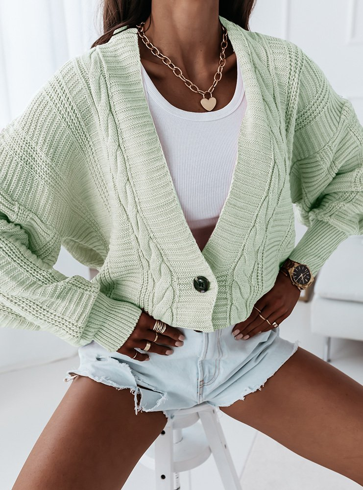 Miętowy sweter z ozdobnym splotem i...