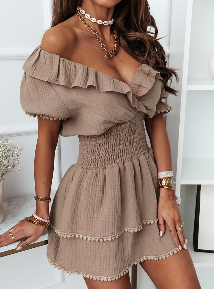 Sukienka z falbankami Rizalla - odcienie brązu