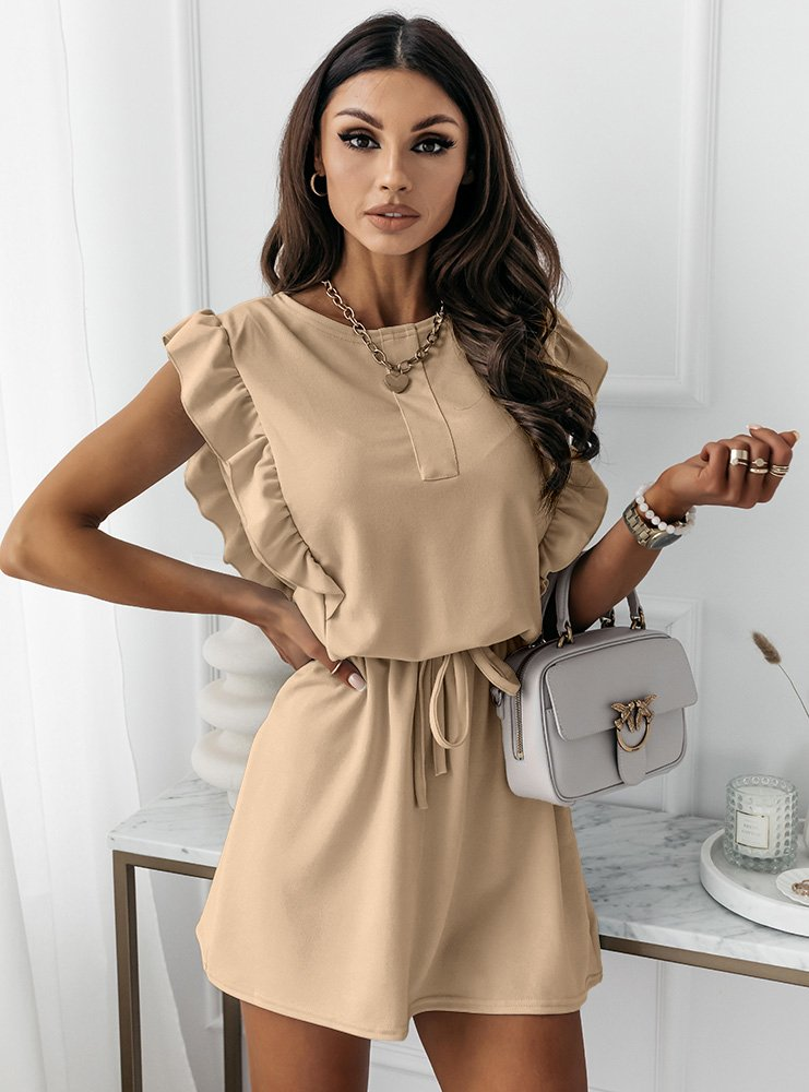 Beżowa sukienka typu szmizjerka Eviee