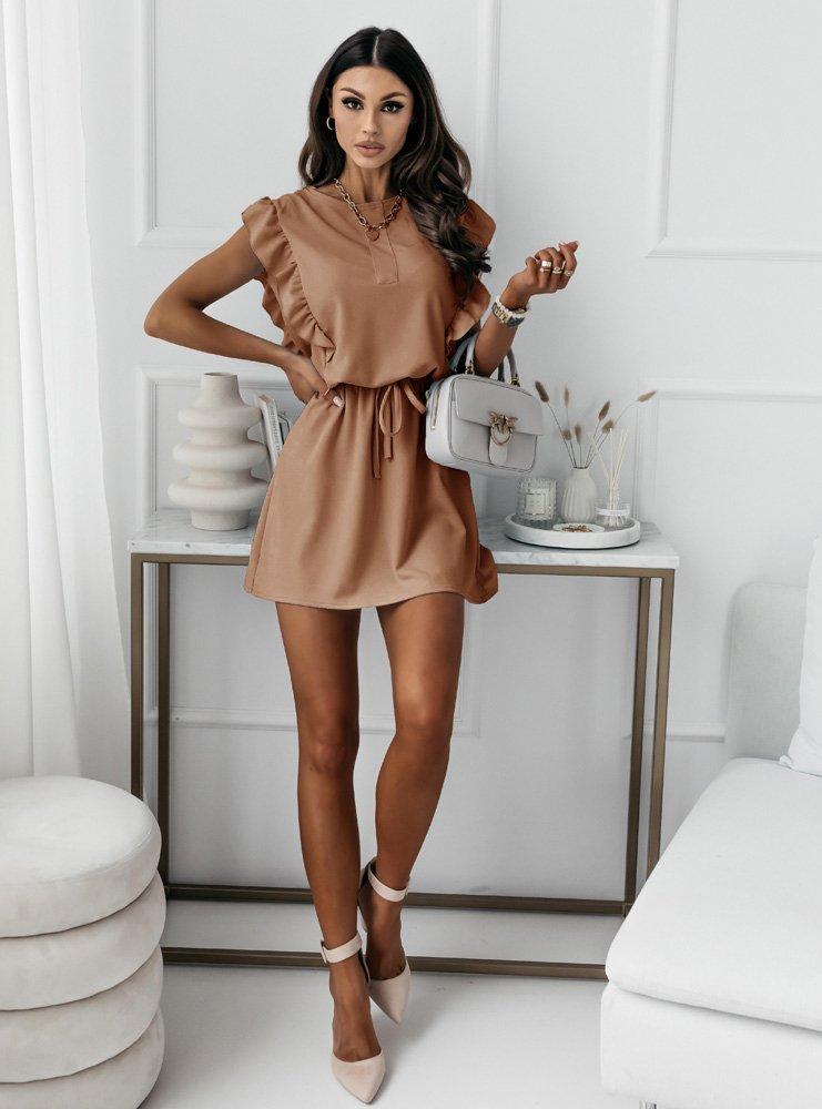 Karmelowa sukienka typu szmizjerka Eviee