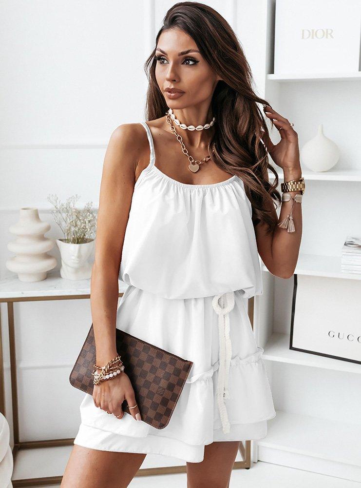 Biała sukienka na ramiączkach ze sznurkiem Imona