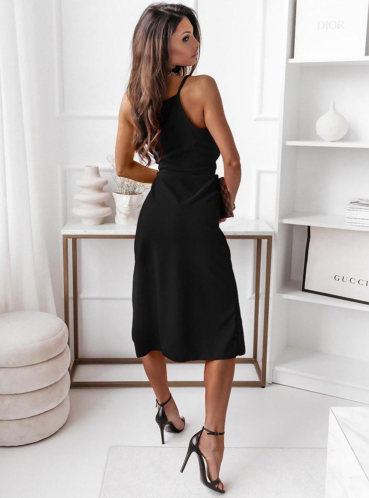Czarna sukienka na ramiączkach z...