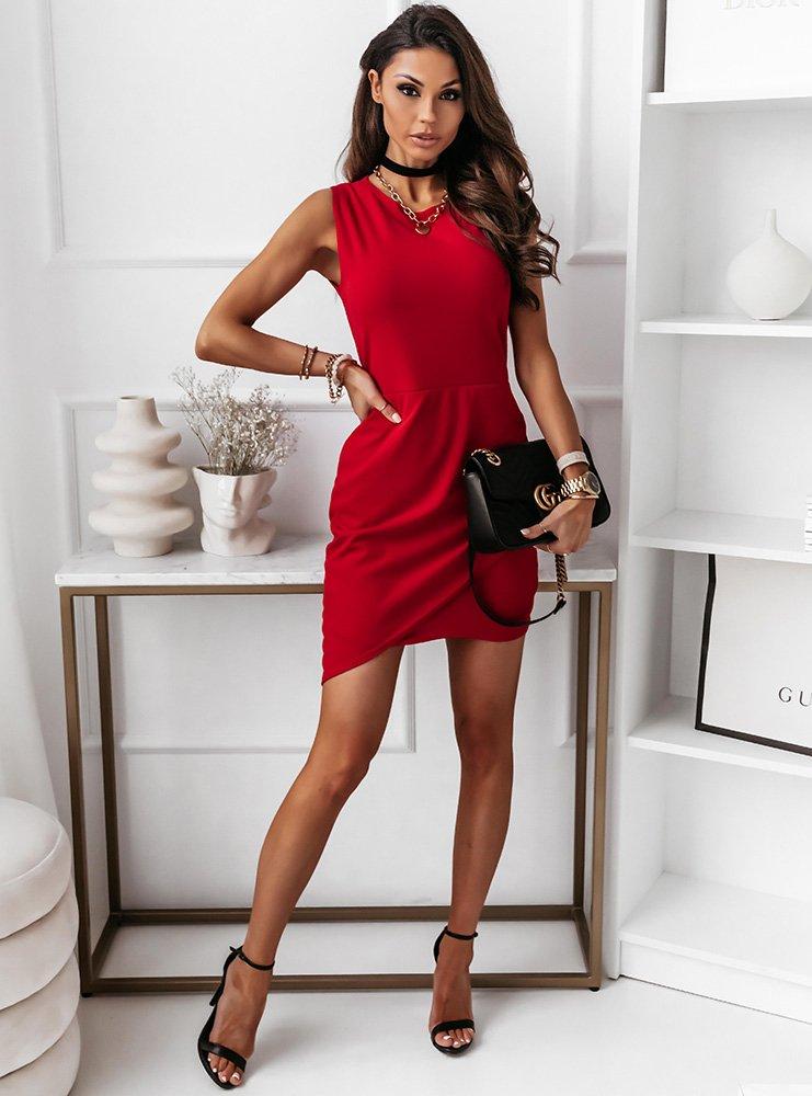 Malinowa asymetryczna sukienka...