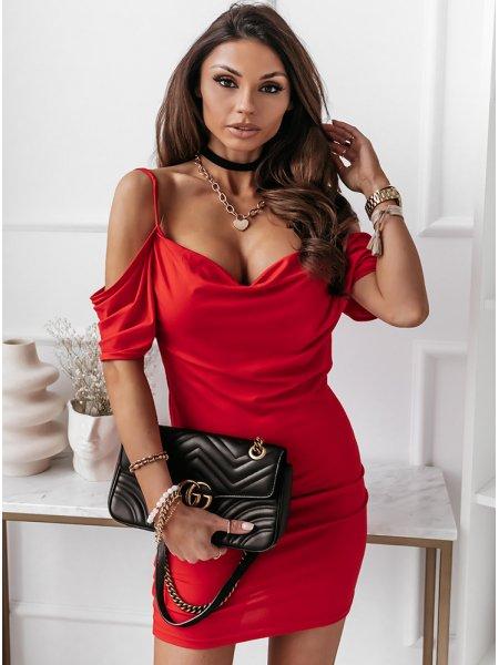 Malinowa sukienka hiszpanka...