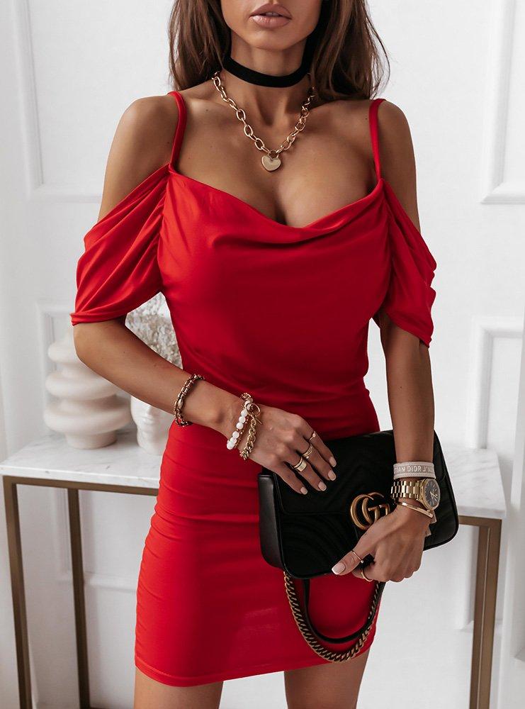 Malinowa sukienka hiszpanka Ninee