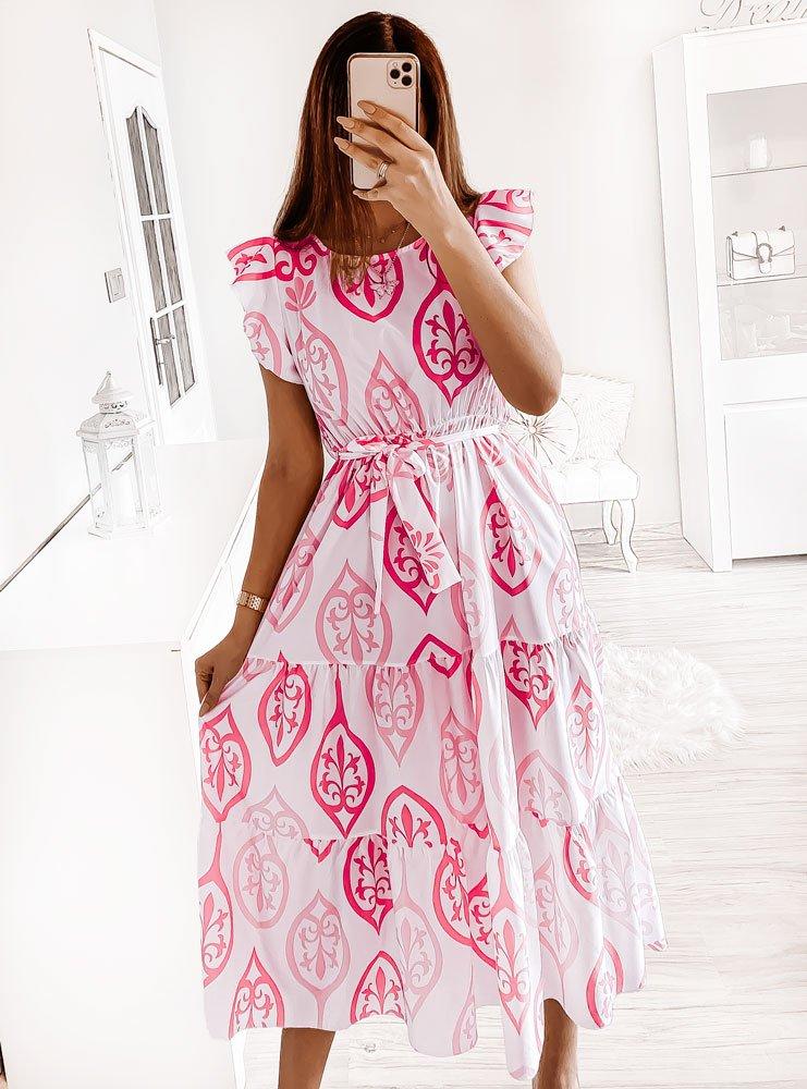 Sukienka maxi z różowym wzorem Mandalee