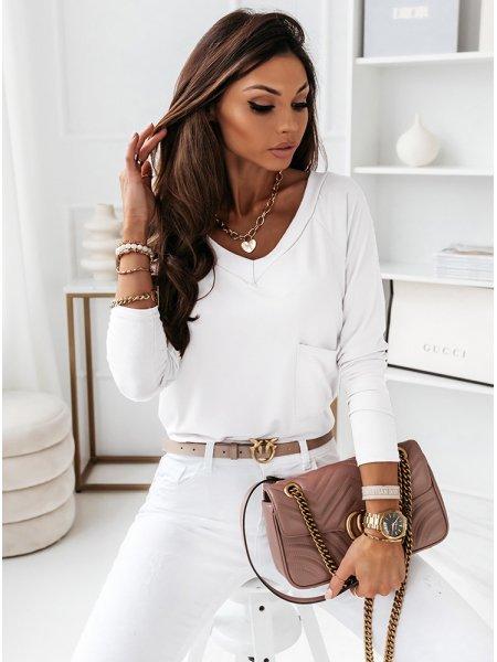 Biała bluzka z kieszonką...
