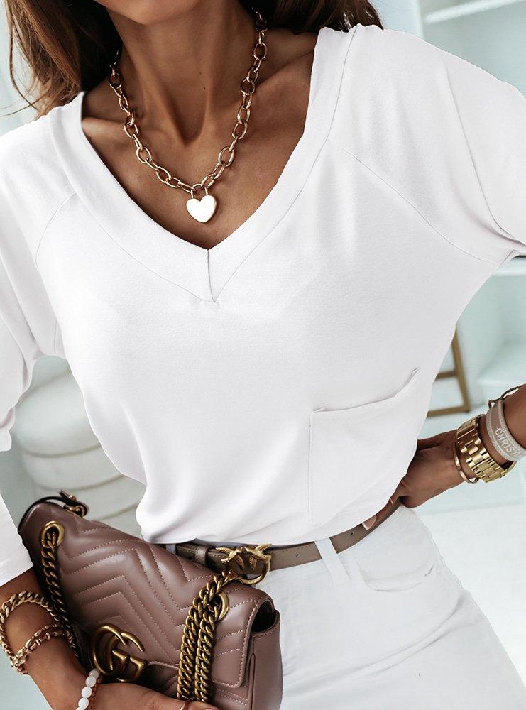 Biała bluzka z kieszonką Ivetta