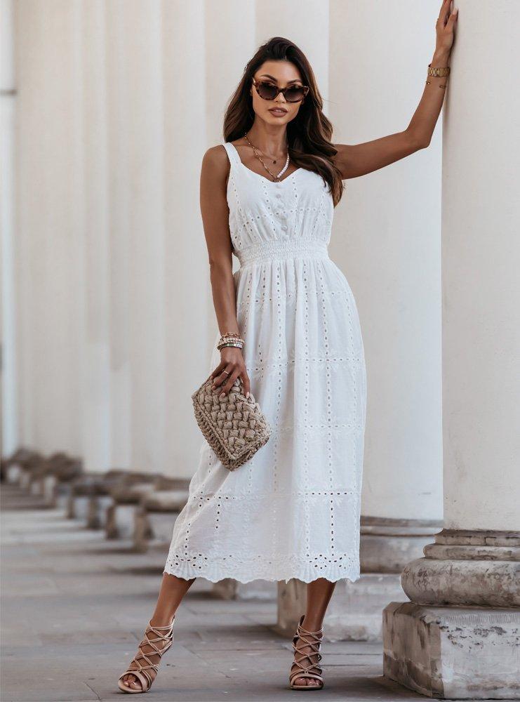 Biała ażurkowa sukienka na ramiączka Kini