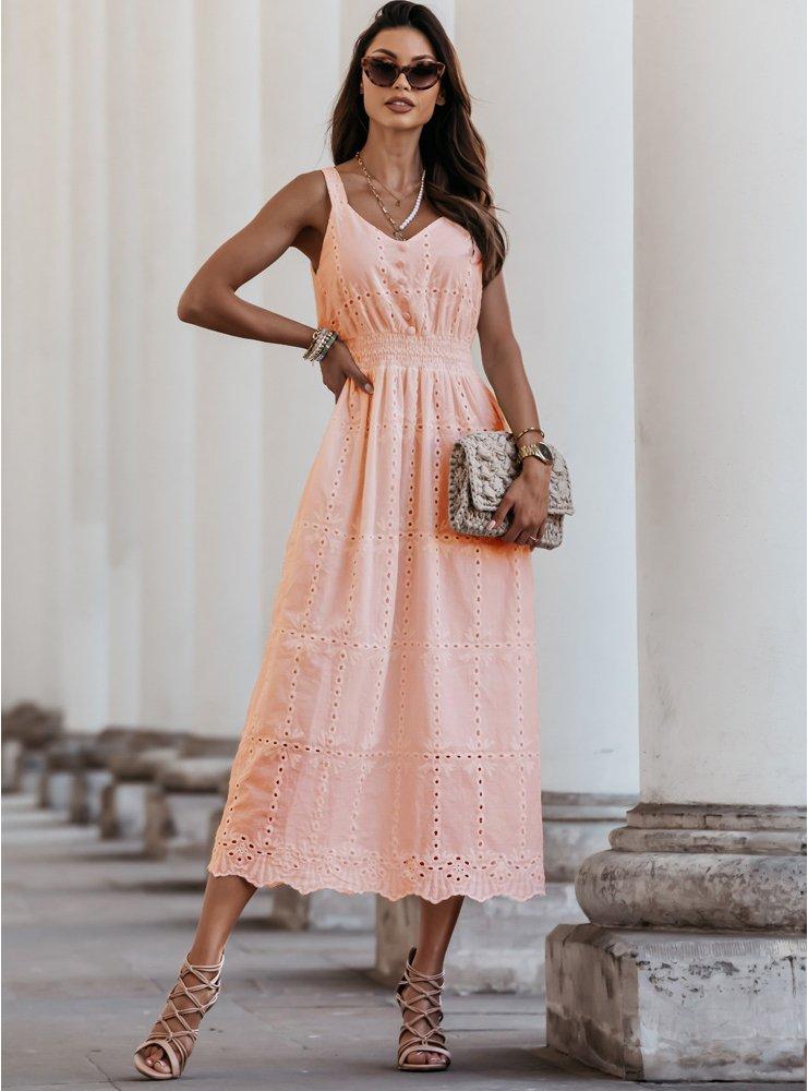 Brzoskwiniowa ażurkowa sukienka na...