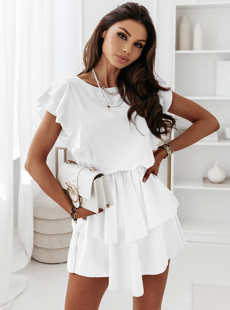 Biała sukienka z falbankami Solrunn