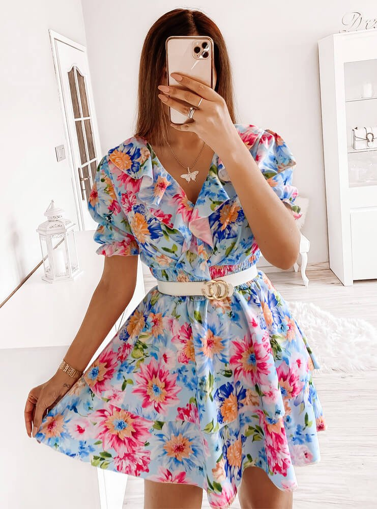 Wzorzysta sukienka z falbankami Ivees...