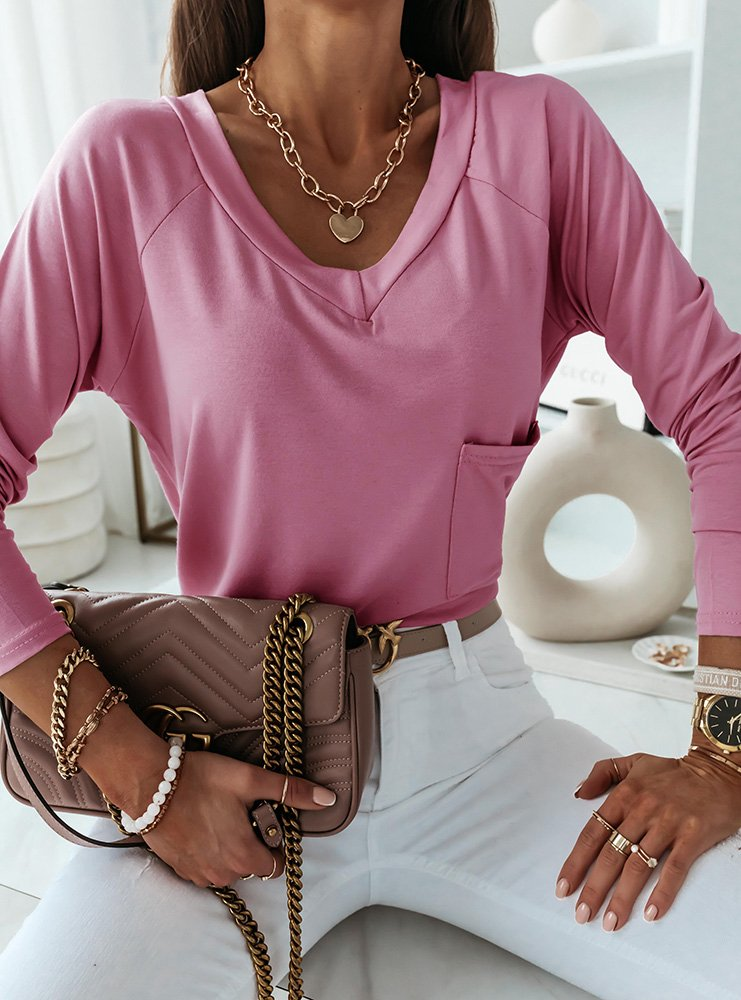 Wrzosowa bluzka z kieszonką Ivetta