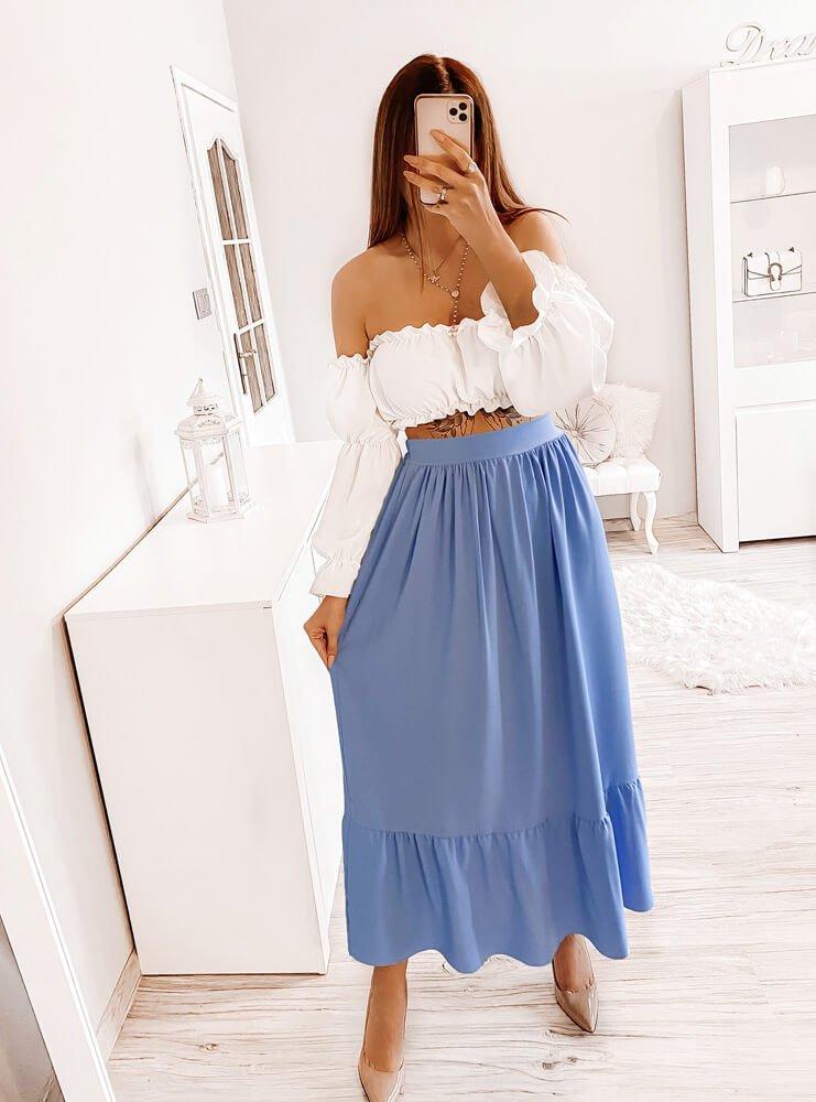 Błękitny komplet bluzka i spódnica...