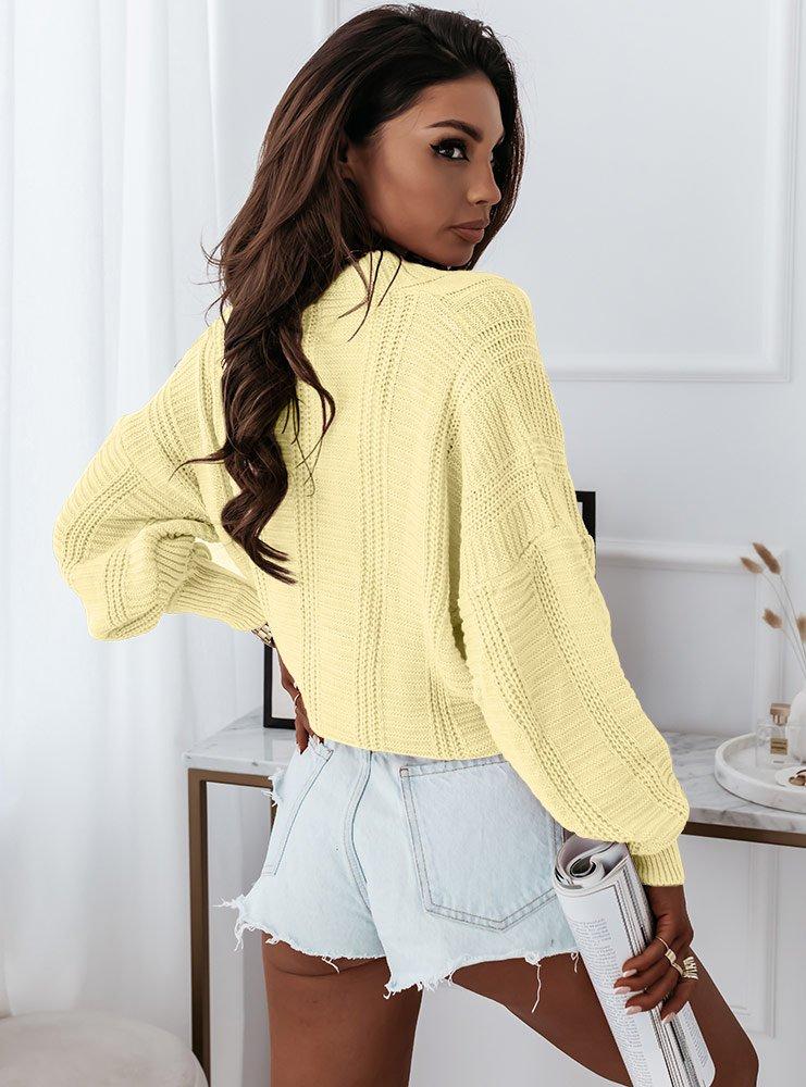 Cytrynowy sweter z ozdobnym splotem i...