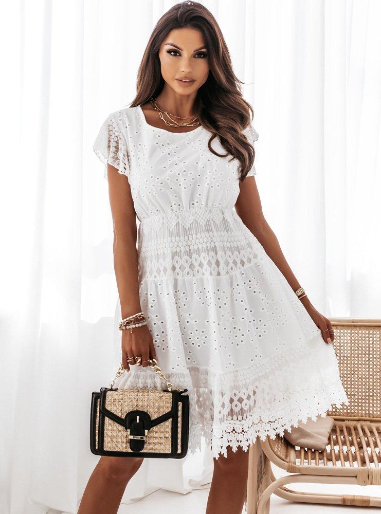 Biała ażurkowa sukienka z koronką Rimki