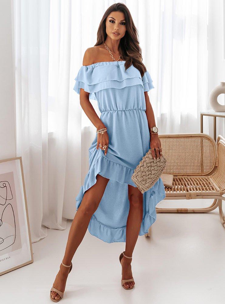 Błękitna asymetryczna sukienka...