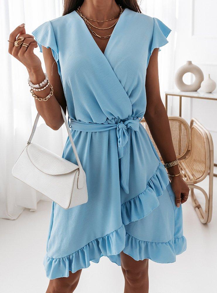 Błękitna sukienka z przekładanym...