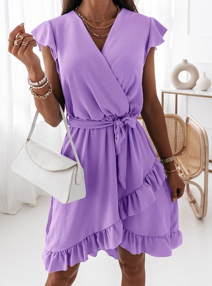 Liliowa sukienka z przekładanym...
