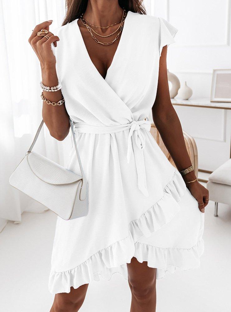Biała sukienka z przekładanym...