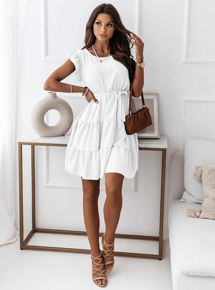 Biała sukienka z paskiem Joana