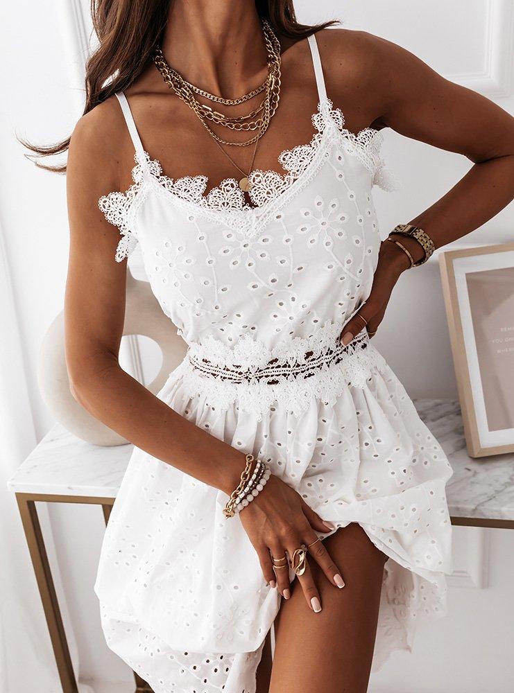 Biała ażurkowa sukienka na ramiączkach z koronką Sorbettina