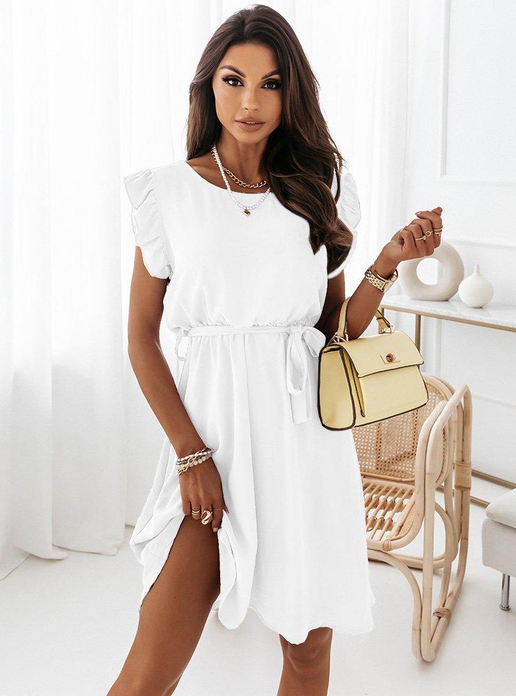 Biała sukienka z falbankami przy...