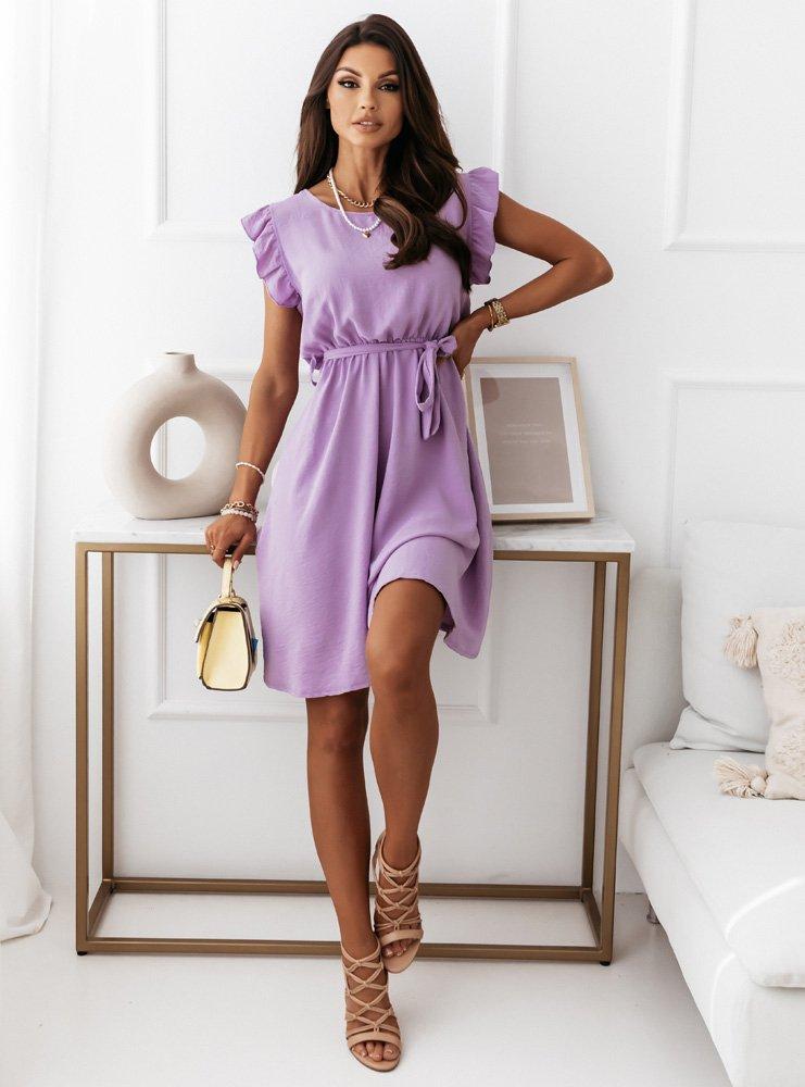 Liliowa sukienka z falbankami przy rękawach Bizko