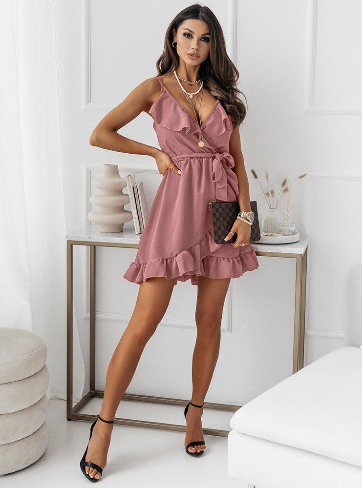 Sukienka z falbaną przy dekolcie...