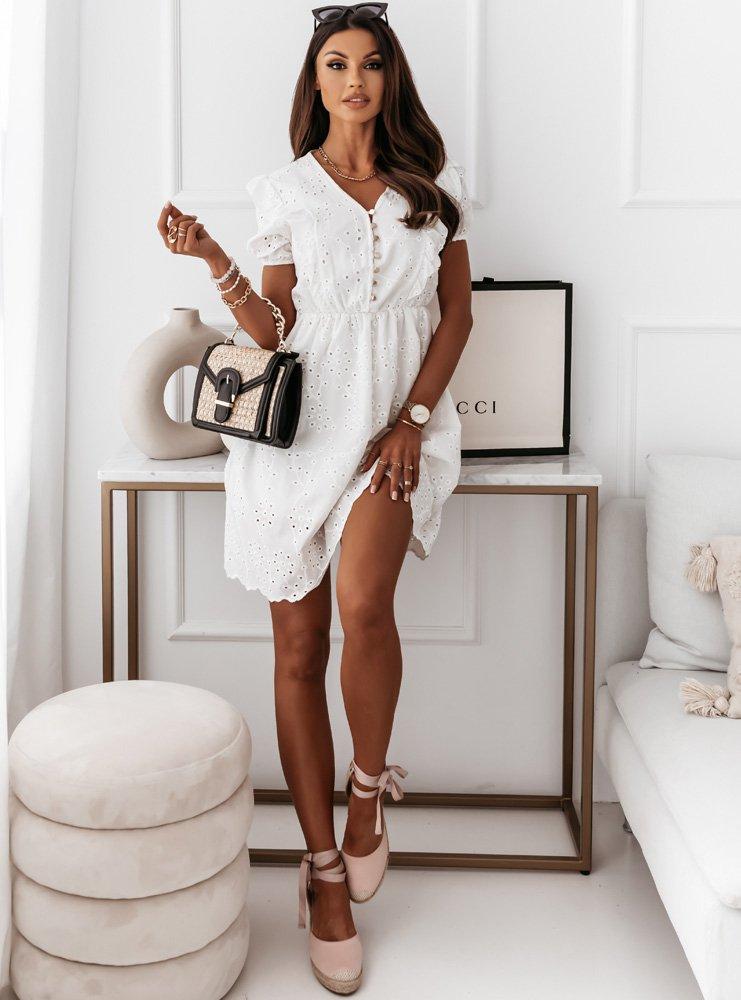 Biała ażurkowa sukienka z guziczkami...
