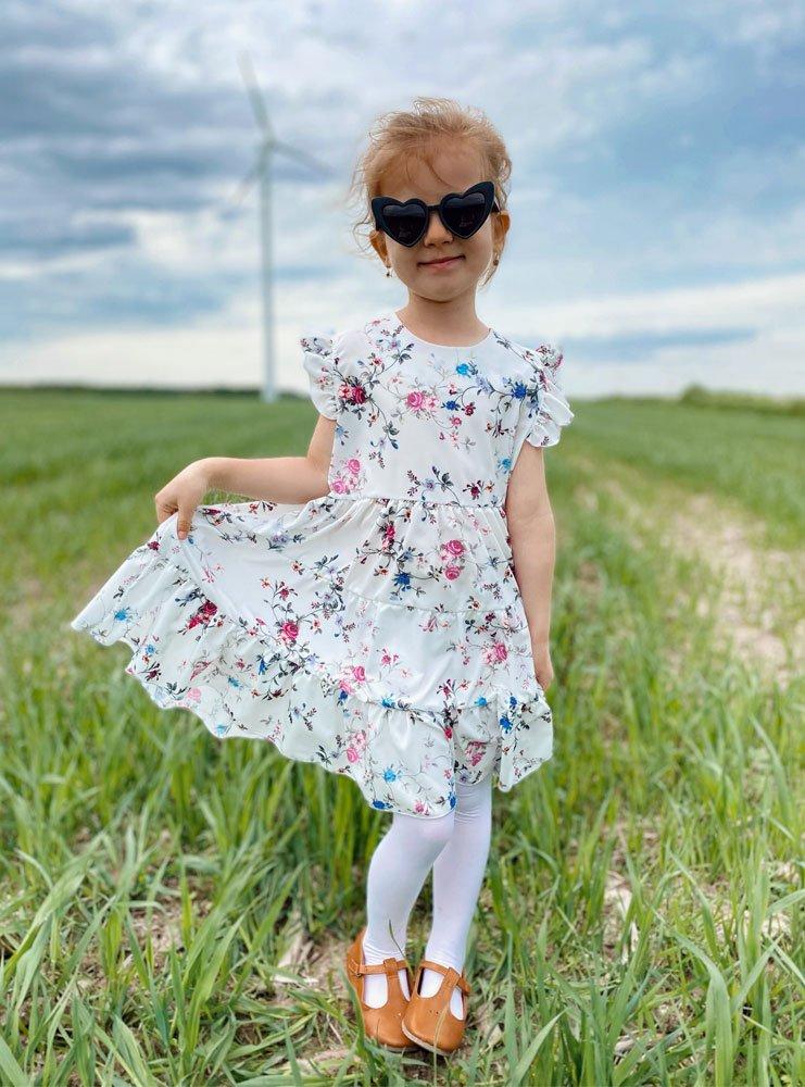 Dziewczęca wzorzysta sukienka z...