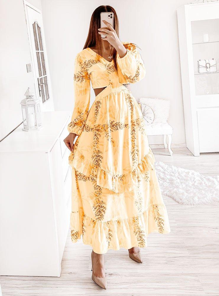 Kanarkowa wzorzysta sukienka z...