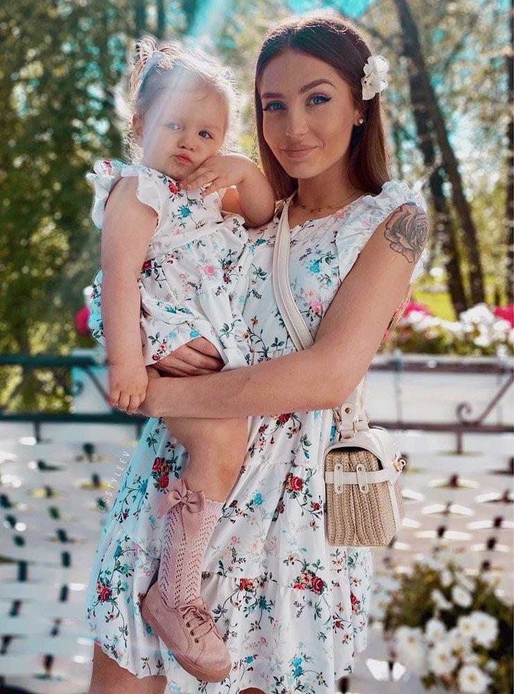 Zestaw wzorzysta sukienka z falbankami mama i córka Ella - d22c1