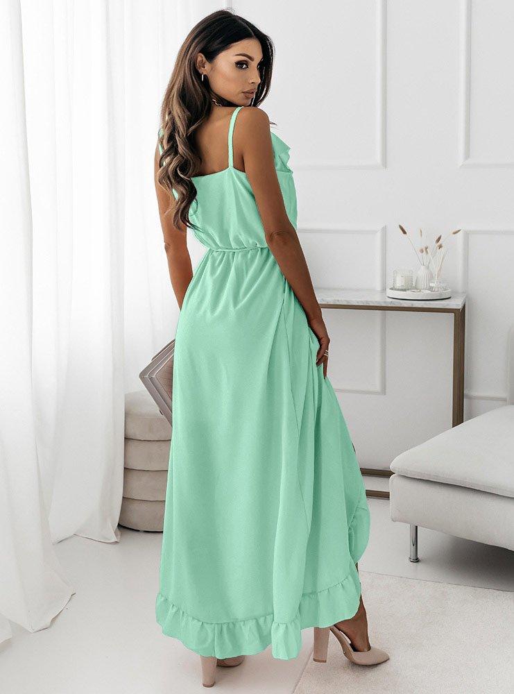 Miętowa asymetryczna sukienka na...