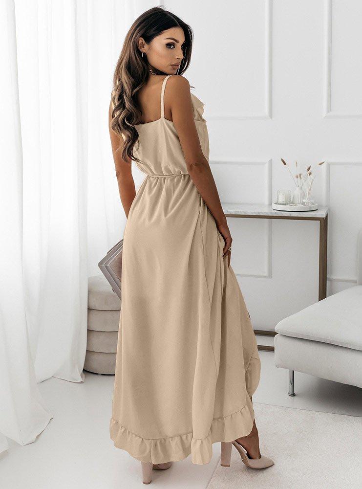 Beżowa asymetryczna sukienka na...
